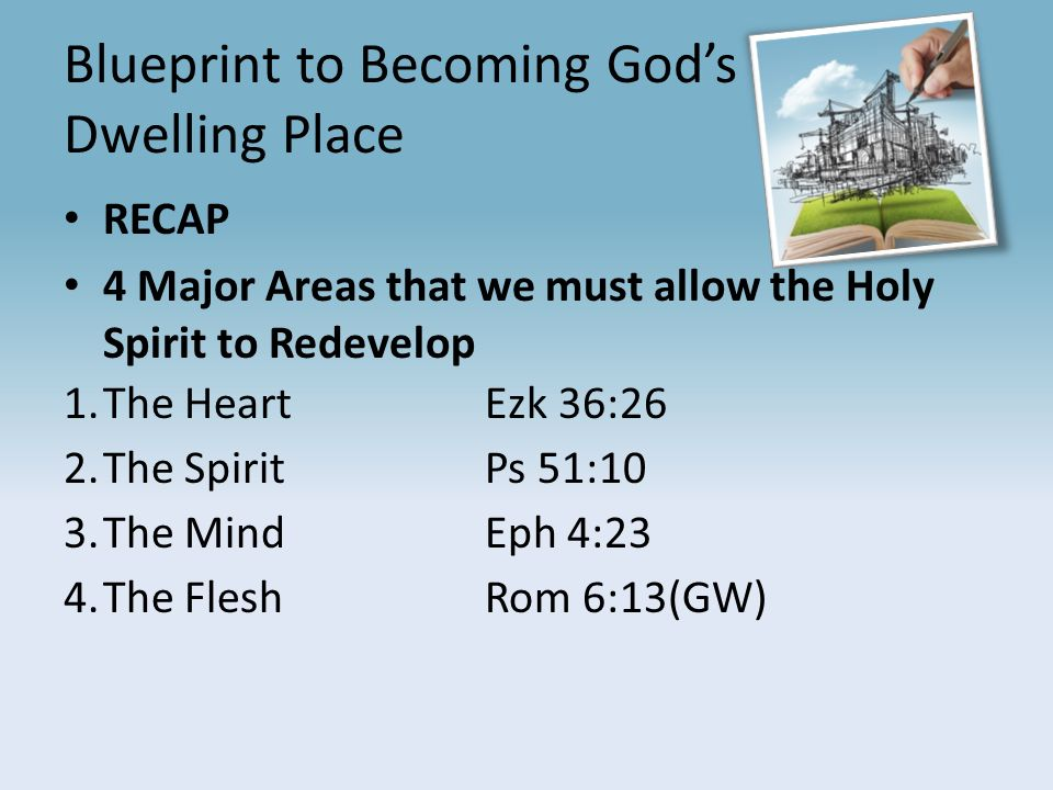 The blueprint for christian success series pt5 blueprint to becoming 4 blueprint to becoming gods dwelling place recap 4 major areas that we must allow the holy spirit to redevelop 1e heartezk 3626 2 malvernweather