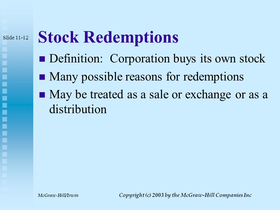 McGraw-Hill/Irwin Copyright (c) 2003 by the McGraw-Hill Companies Inc S Corporation Stock-Basis Adjustments Basis normally adjusted at end of year to reflect shareholder's share or income and deductions If stock sold before end of year adjustments must be made for share of allocable items up to date of sale Slide 11-11