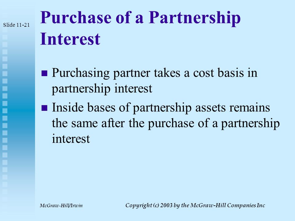 McGraw-Hill/Irwin Copyright (c) 2003 by the McGraw-Hill Companies Inc Hot Assets Assets which can cause ordinary income under section 751  Inventory  Unrealized receivables  Trade account receivables not previously included in income  Any ordinary gain that would be generated through depreciation recapture if a partnership asset were sold Slide 11-20