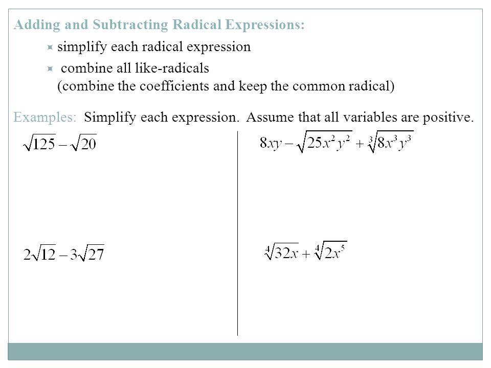 Add Subtract Multiply Radicals Calculator adding subtracting – Adding and Subtracting Radical Expressions Worksheet