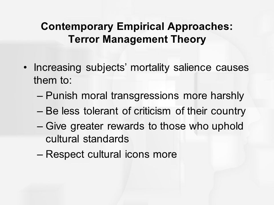 terror management theory Terror management theory: the terror management theory is based heavily upon the work and research or ernest becker, an american cultural anthropologist, and further cultivated by jeff greenberg, yom pyszczynski, and sheldon solomon, all american psychologists.