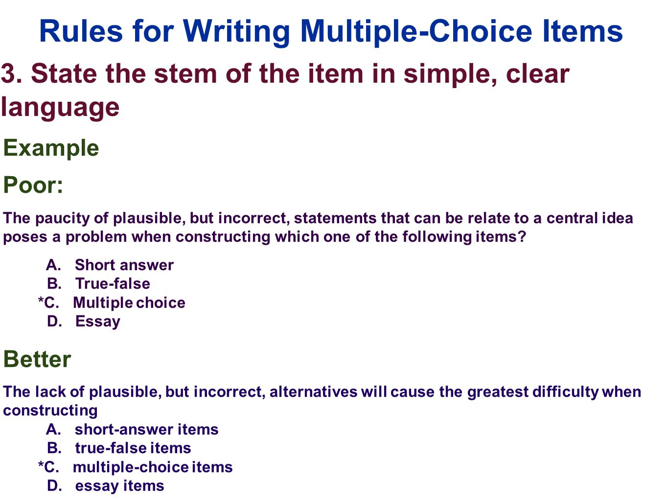 edu session writing selection items multiple choice ppt rules for writing multiple choice items 3