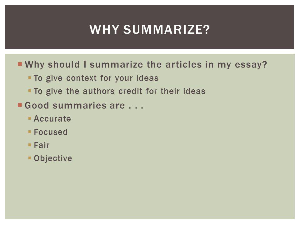 Summarize essay for me