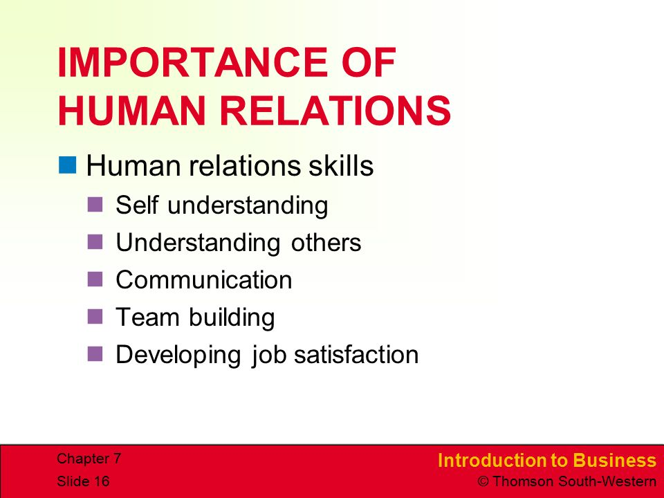 Introduction to Business © Thomson South-Western Chapter 7 Slide 16 IMPORTANCE OF HUMAN RELATIONS Human relations skills Self understanding Understanding others Communication Team building Developing job satisfaction