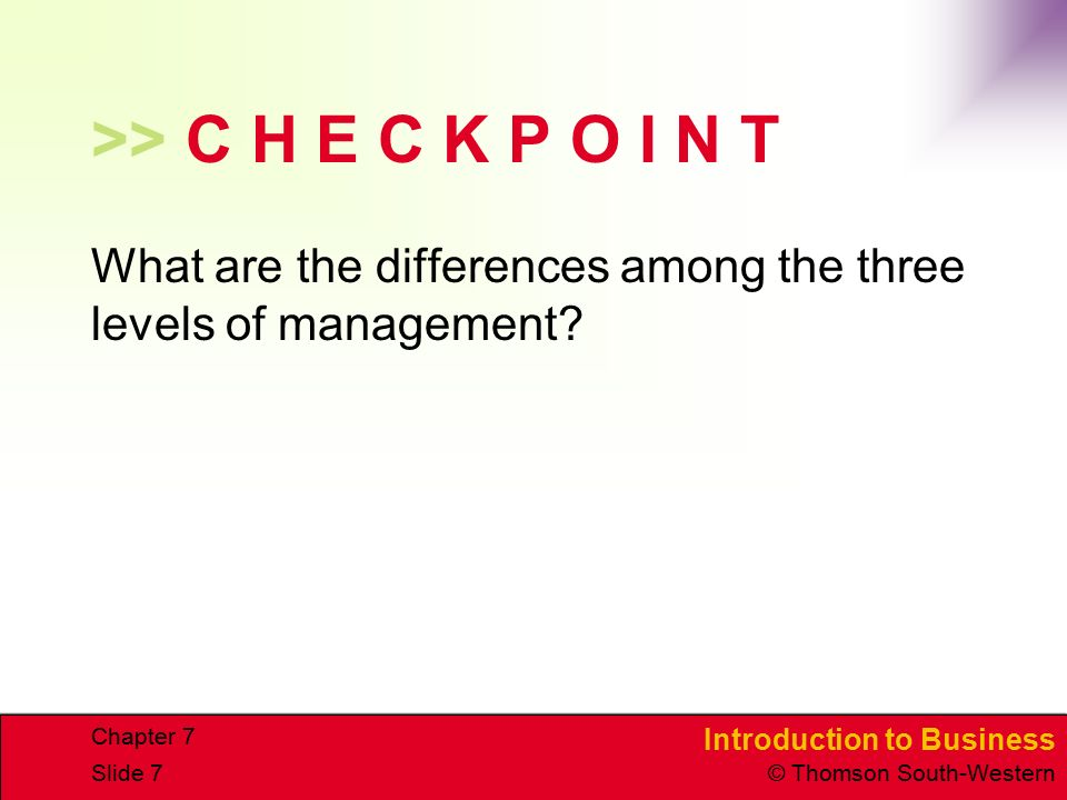 Introduction to Business © Thomson South-Western Chapter 7 Slide 7 >> C H E C K P O I N T What are the differences among the three levels of managemen