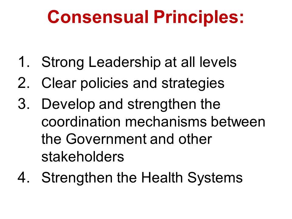 Consensual Principles: 1. Strong Leadership at all levels 2.