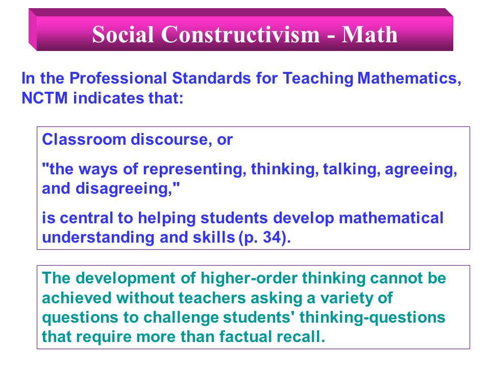 Classroom discourse, or the ways of representing, thinking, talking, agreeing, and disagreeing, is central to helping students develop mathematical understanding and skills (p.