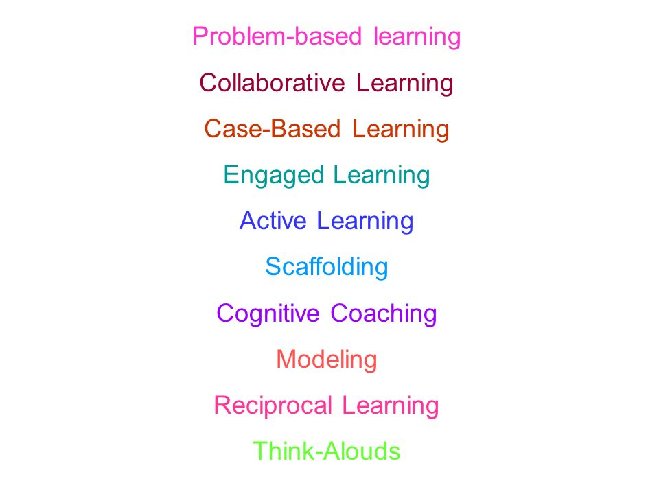 Problem-based learning Collaborative Learning Case-Based Learning Engaged Learning Active Learning Scaffolding Cognitive Coaching Modeling Reciprocal Learning Think-Alouds