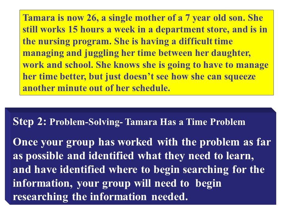 Step 2: Problem-Solving- Tamara Has a Time Problem Once your group has worked with the problem as far as possible and identified what they need to learn, and have identified where to begin searching for the information, your group will need to begin researching the information needed.