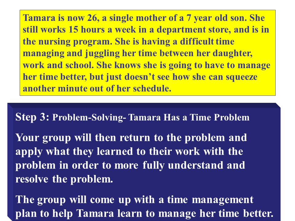 Step 3: Problem-Solving- Tamara Has a Time Problem Your group will then return to the problem and apply what they learned to their work with the problem in order to more fully understand and resolve the problem.