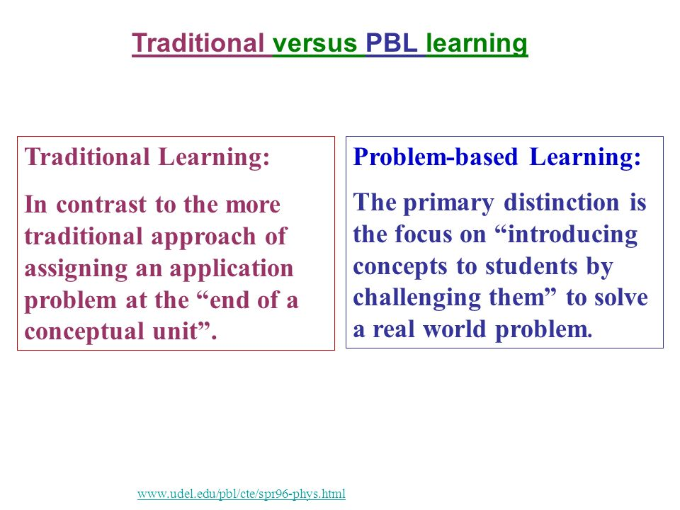 Problem-based Learning: The primary distinction is the focus on introducing concepts to students by challenging them to solve a real world problem.