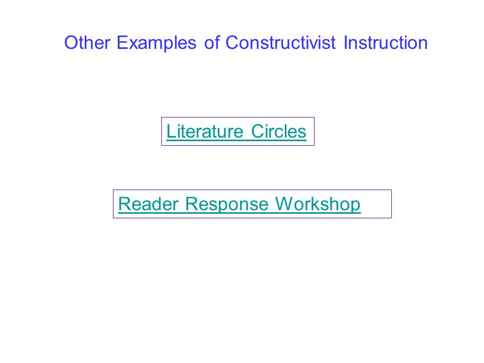 Other Examples of Constructivist Instruction Literature Circles Reader Response Workshop