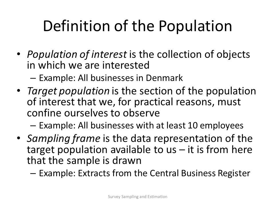 Dynamic Populations in Sample Surveys concerning Business ...