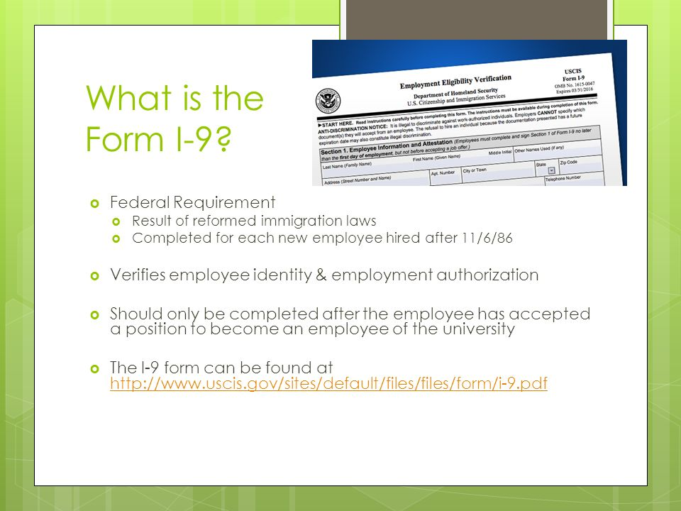 Form I-9 SAU Policy & Requirements What is the Form I-9 ...