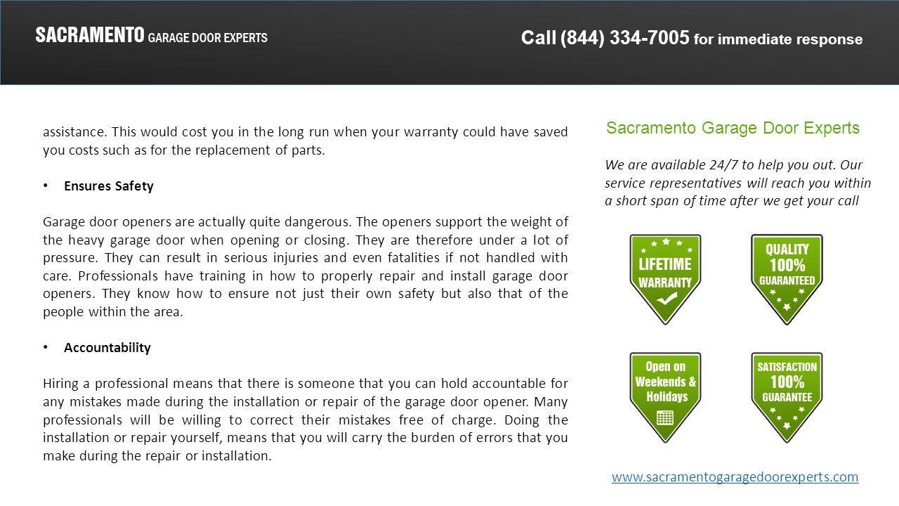 Call 844 For Immediate Response Sacramento Garage Door Experts We