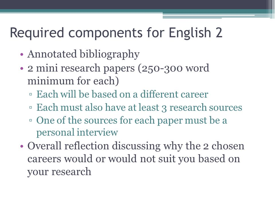 career research paper requirements