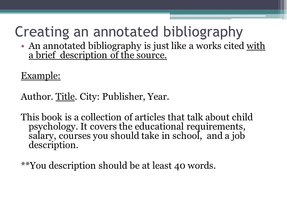 Annotated Bibliography Apa Format 6Th Edition Example