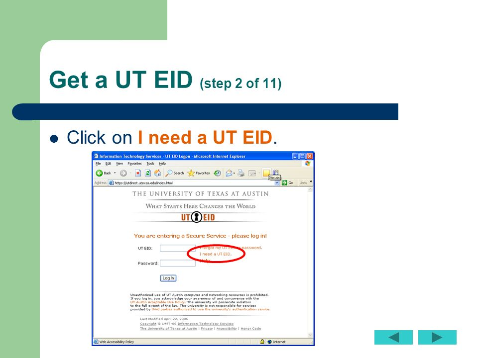 Get a UT EID  step  a of     Follow these instructions CAREFULLY