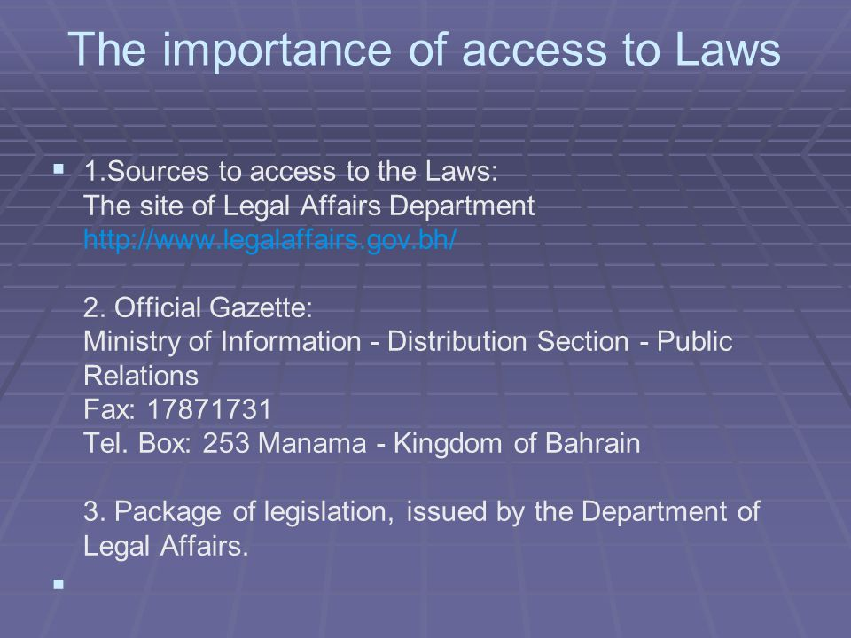 Commercial law by advocates nawaf alsayed may showaiter ppt department of legal affairs the importance of access to laws 1urces to access to the laws sciox Gallery