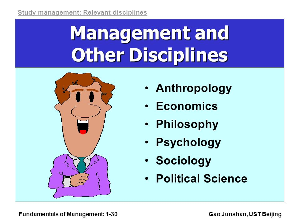 Fundamentals of Management: 1-30Gao Junshan, UST Beijing Management and Other Disciplines Anthropology Economics Philosophy Psychology Sociology Political Science Study management: Relevant disciplines