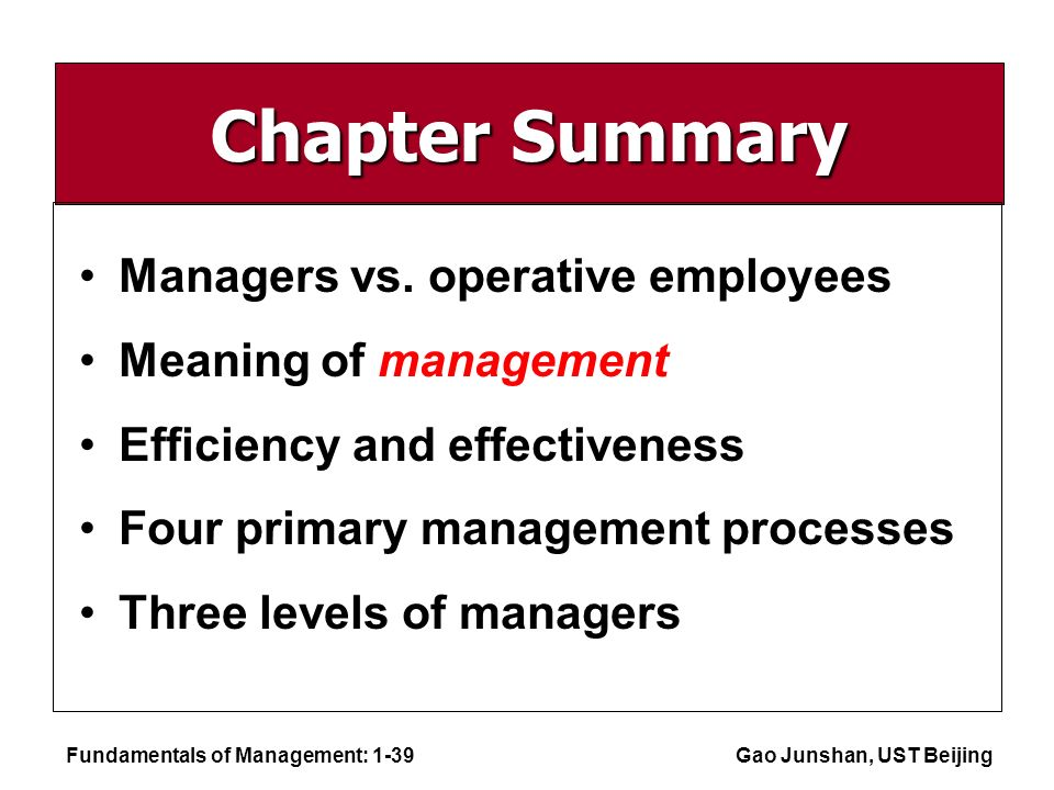 Fundamentals of Management: 1-39Gao Junshan, UST Beijing Chapter Summary Managers vs.