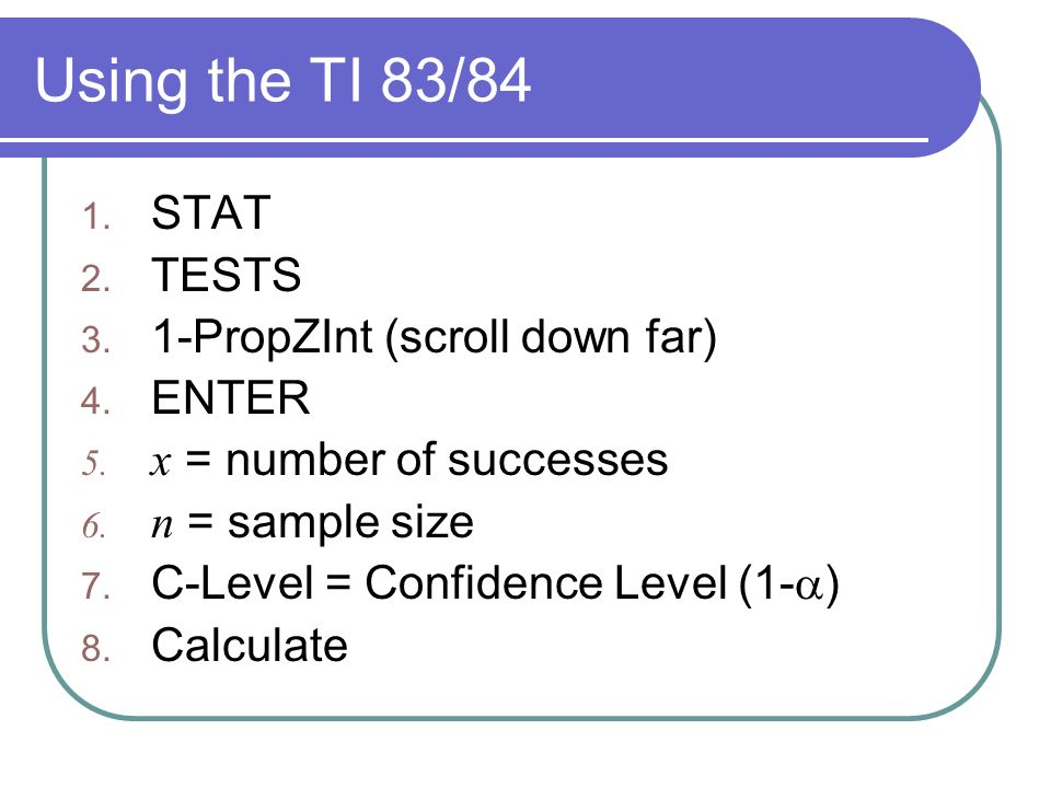 Confidence Interval for a Population Mean Estimating p Estimating ...