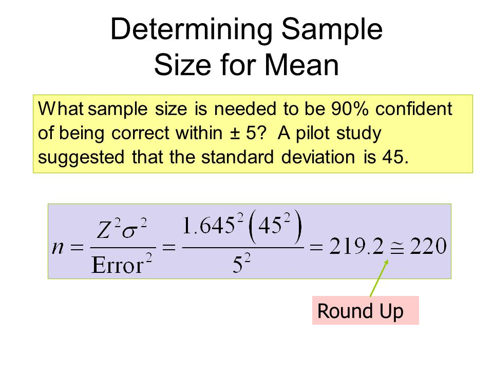determining sample size Sample size determination is the act of choosing the number of observations or replicates to include in a statistical sample the sample size is an important feature.