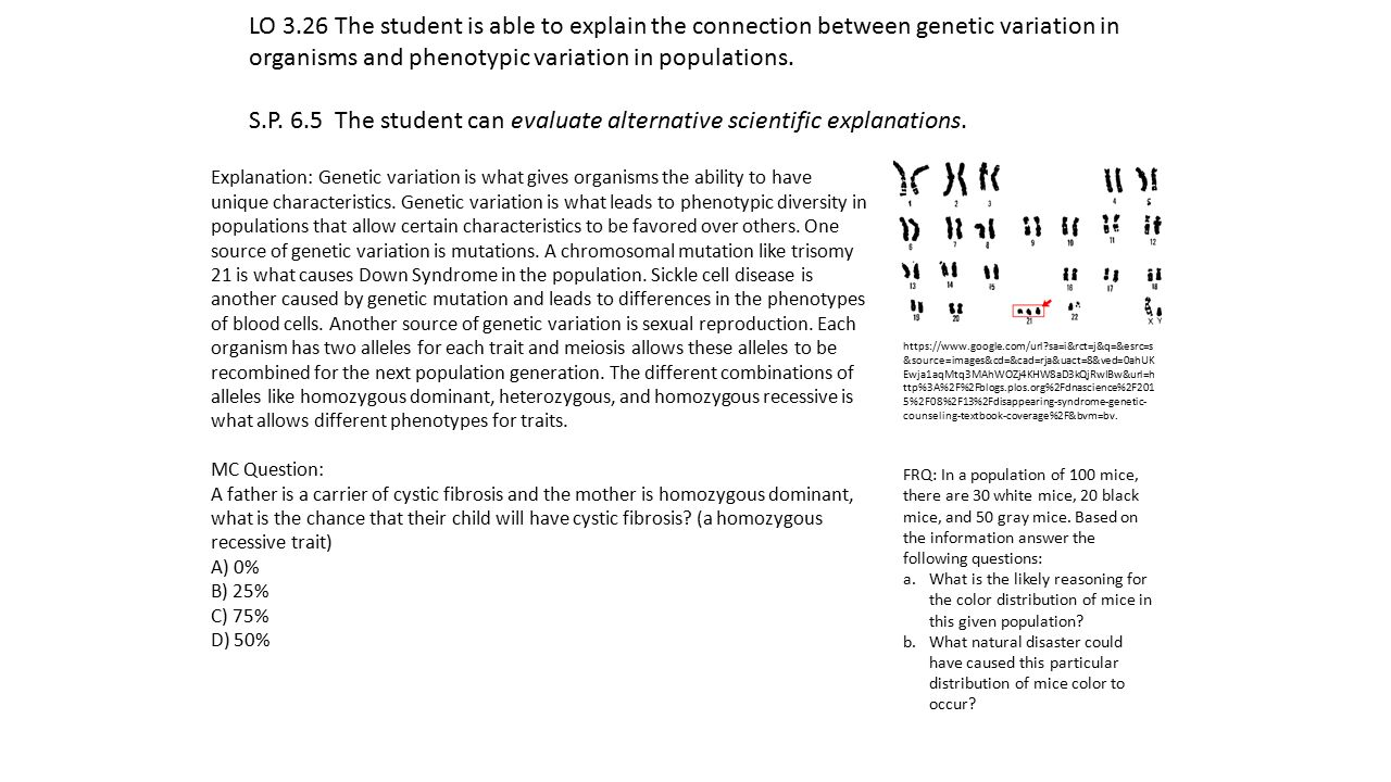 LO 3.26 The student is able to explain the connection between genetic variation in organisms and phenotypic variation in populations.