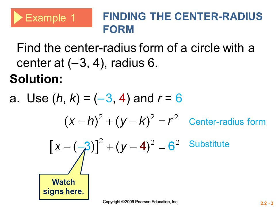 Circle-Radius form By definition, a circle is the set of all ...
