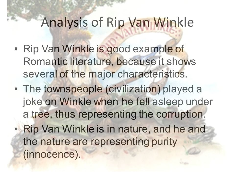 rip van winkle essay thesis Essays, term papers, book reports, research papers on english free papers and essays on rip van winkle we provide free model essays on english, rip van winkle reports, and term paper samples related to rip van winkle.