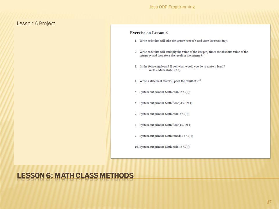 17 Math.pow(base, Power) Math.sqrt(number) Java OOP Programming 16