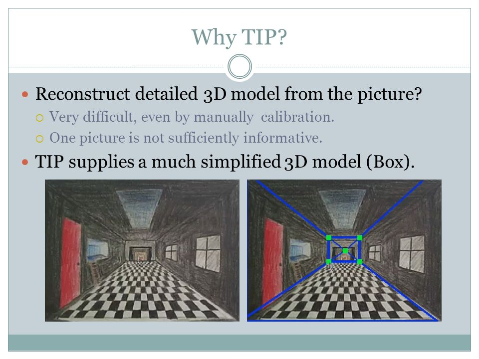 Why TIP. Reconstruct detailed 3D model from the picture.