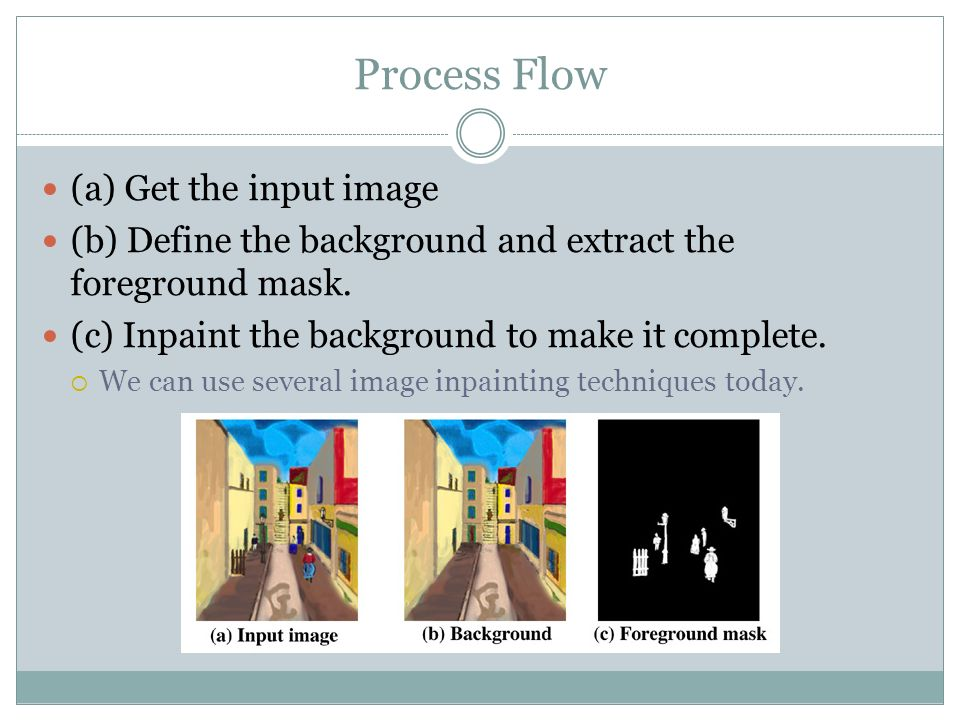 (a) Get the input image (b) Define the background and extract the foreground mask.