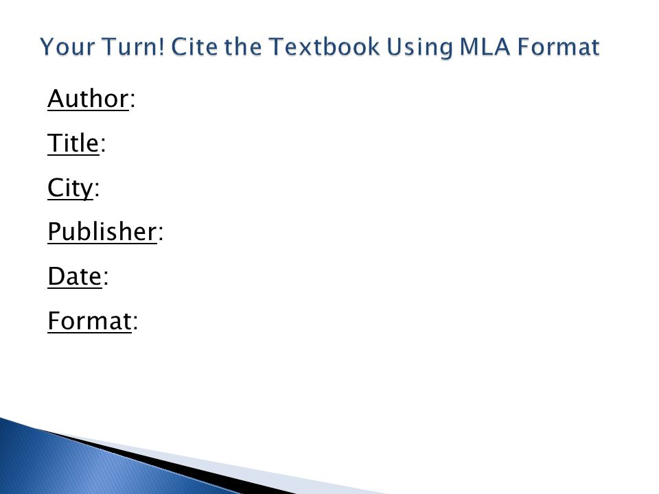 mla format for books