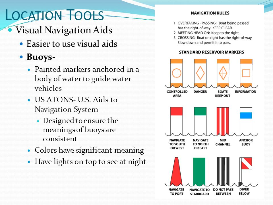 Transportation technology mr wright w hen you have completed l ocation t ools visual navigation aids easier to use visual aids buoys painted markers sciox Choice Image