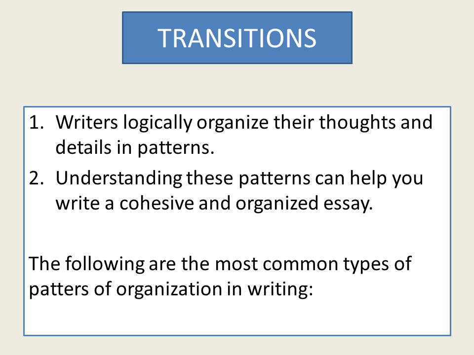 expository essays explain an expository essay is an investigative  writers logically organize their thoughts and details in patterns