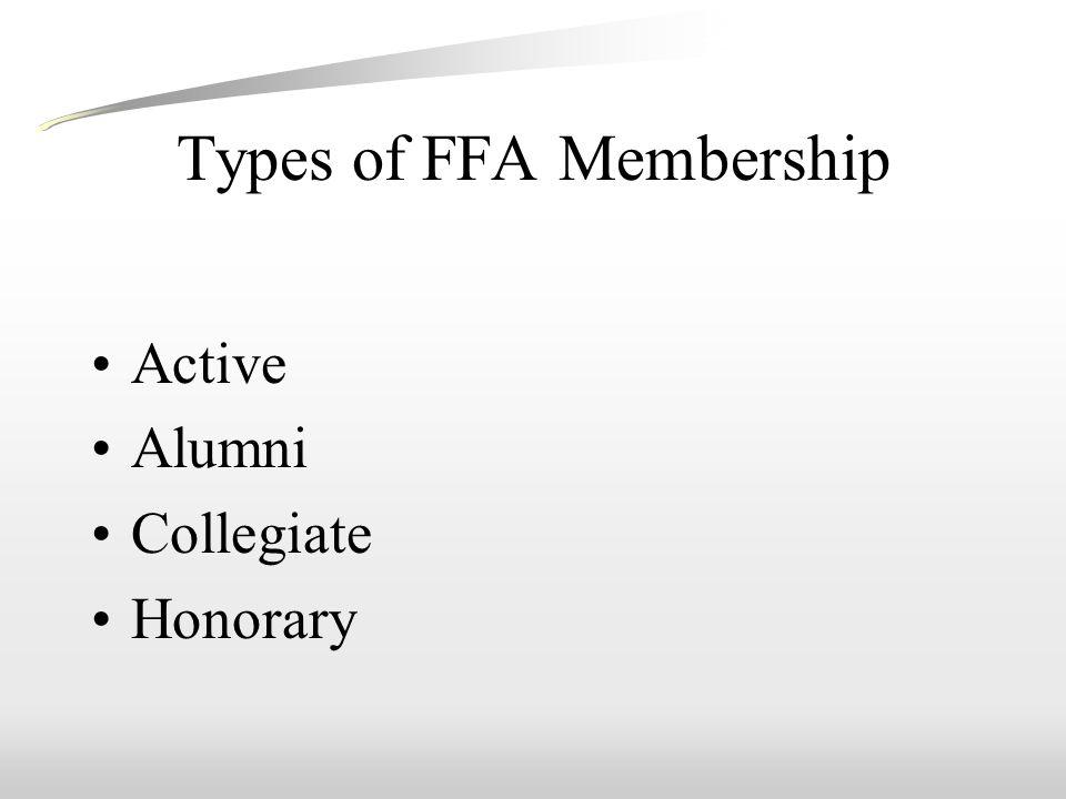 Types of FFA Membership Active Alumni Collegiate Honorary