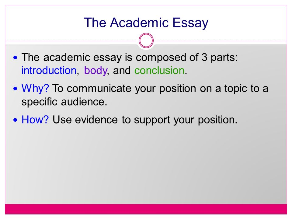 Writing An Essay. The Academic Essay The Academic Essay Is