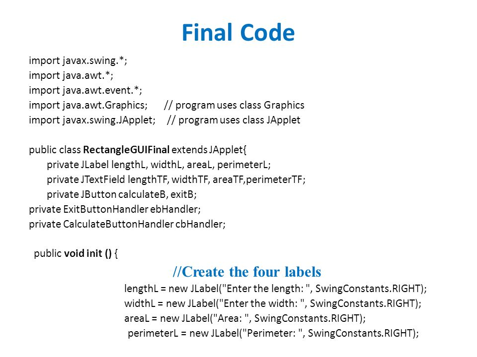 Design applet based java program to find the area and perimeter of 2 final ccuart Image collections