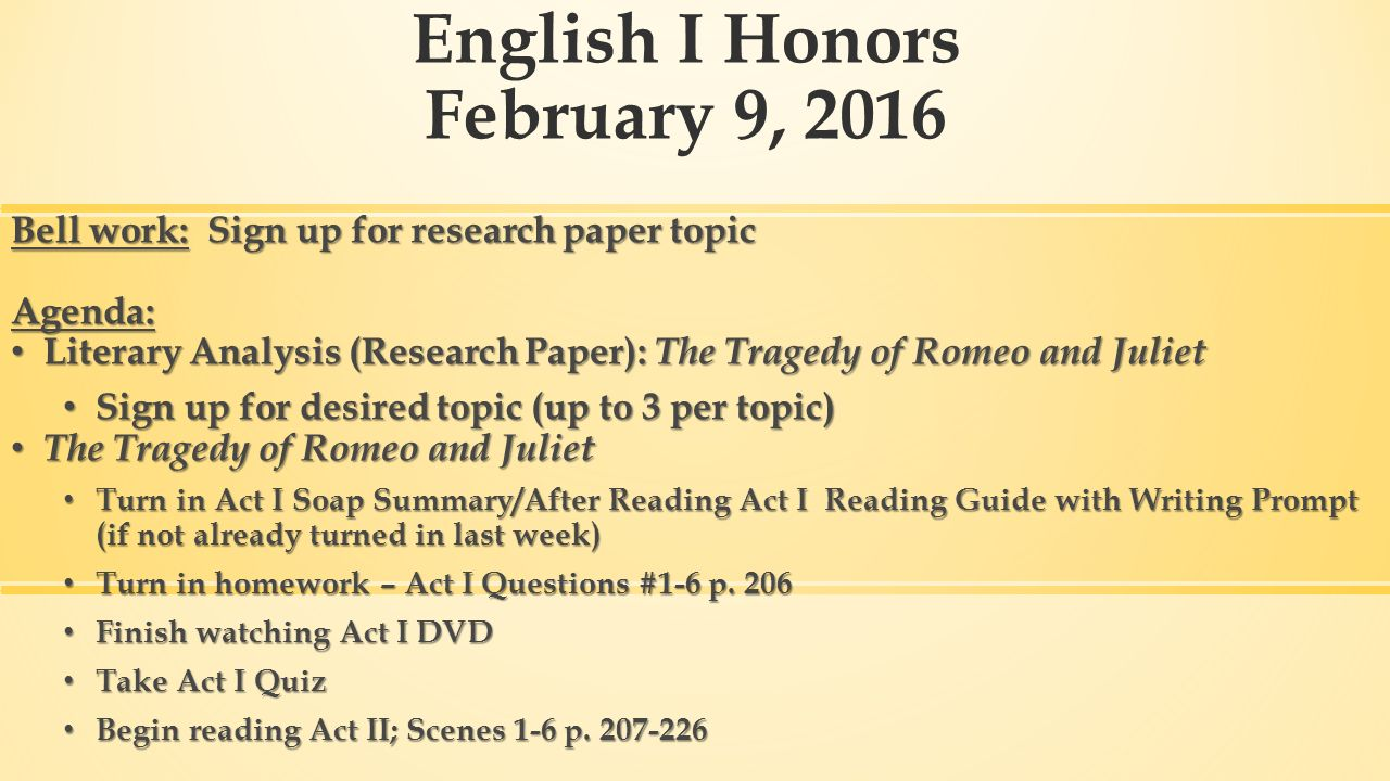 Literary topic for an English research paper?