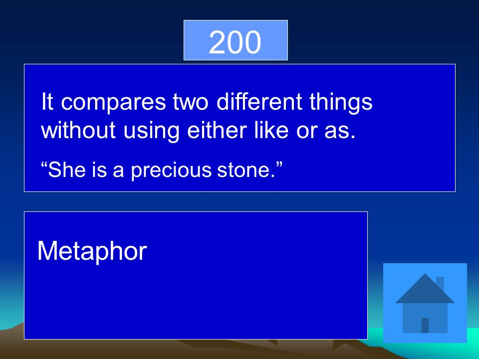200 It compares two different things without using either like or as.