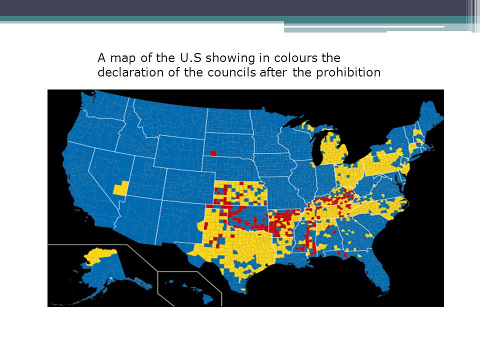 21 A Map Of The U S Showing In Colours The Declaration Of The Councils After The Prohibition