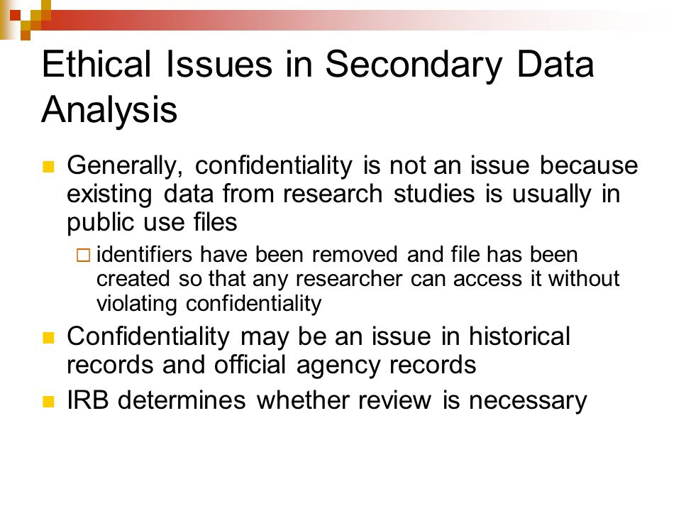 ethical issue for secondary research analysis
