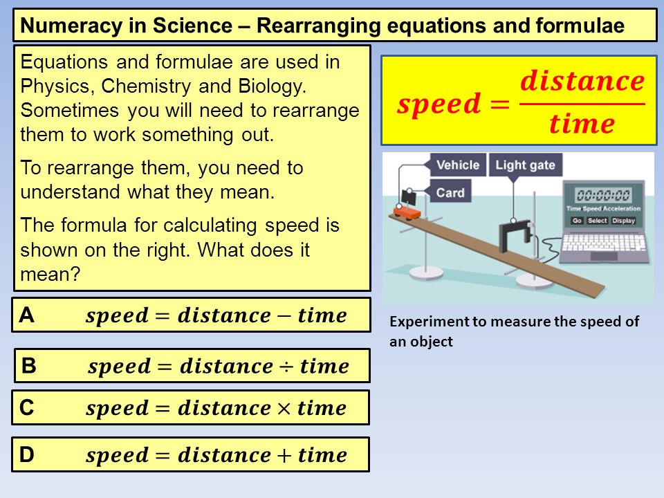 Numeracy In Science Rearranging Equations And Formulae Equations
