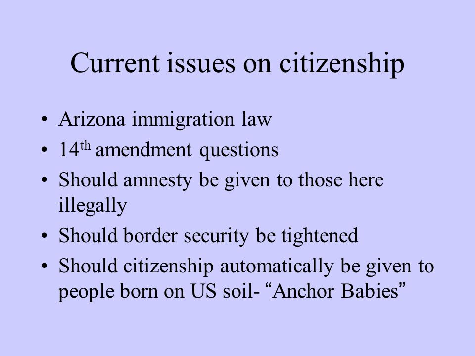 Current issues on citizenship Arizona immigration law 14 th amendment questions Should amnesty be given to those here illegally Should border security