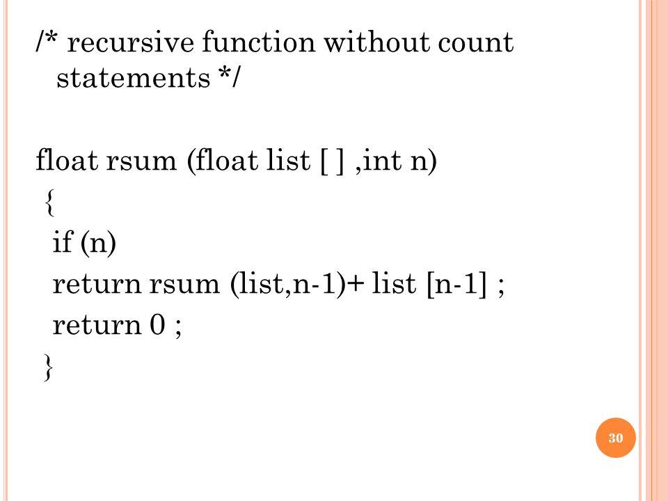 30 recursive function without count statements float rsum float list int n if n return rsum listn 1 list n 1 return 0 30