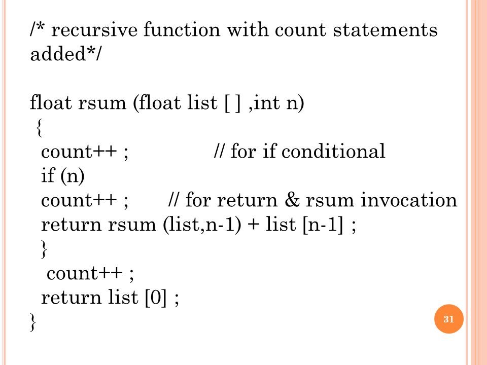 31 recursive