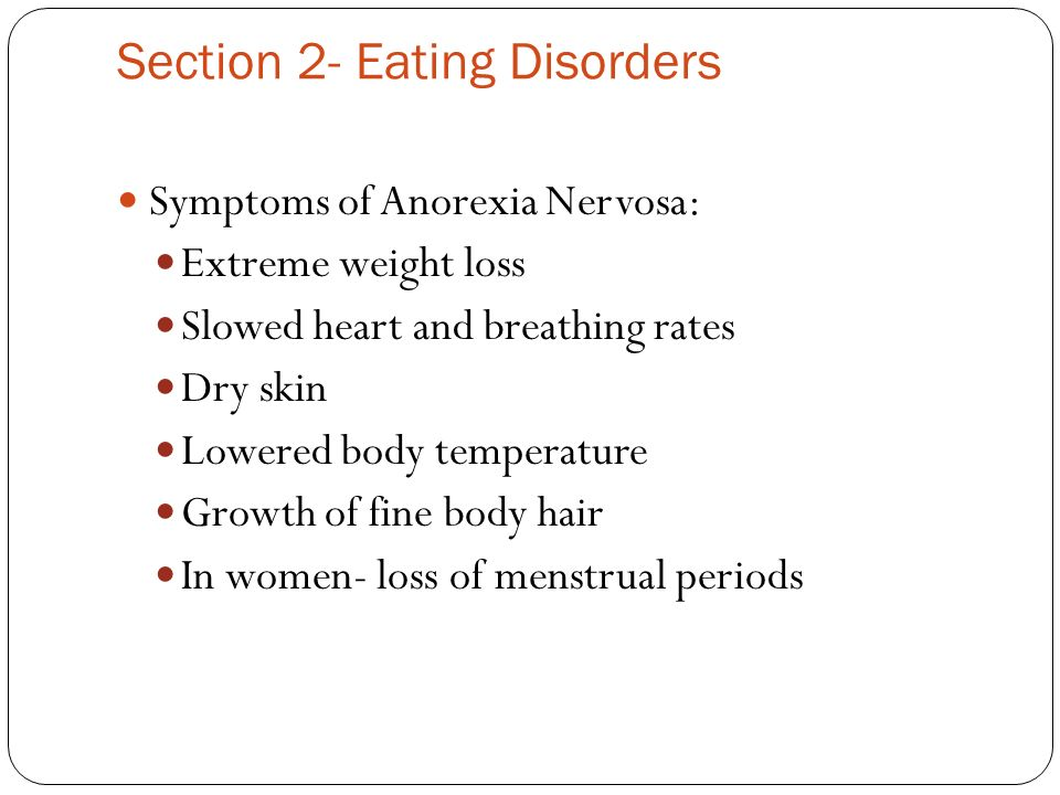 the characteristics and symptoms of anorexia nervosa an eating disorder By stefanie lein this article looks at the symptoms of anorexia, an eating disorder characterized by a person's refusal to eat food as a result of denying oneself calories and nutrition over time many physical signs and symptoms may occur.