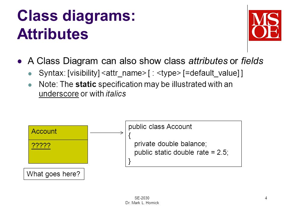 Uml review class diagrams se 2030 dr mark l hornick ppt download class diagrams attributes a class diagram can also show class attributes or fields syntax ccuart Image collections