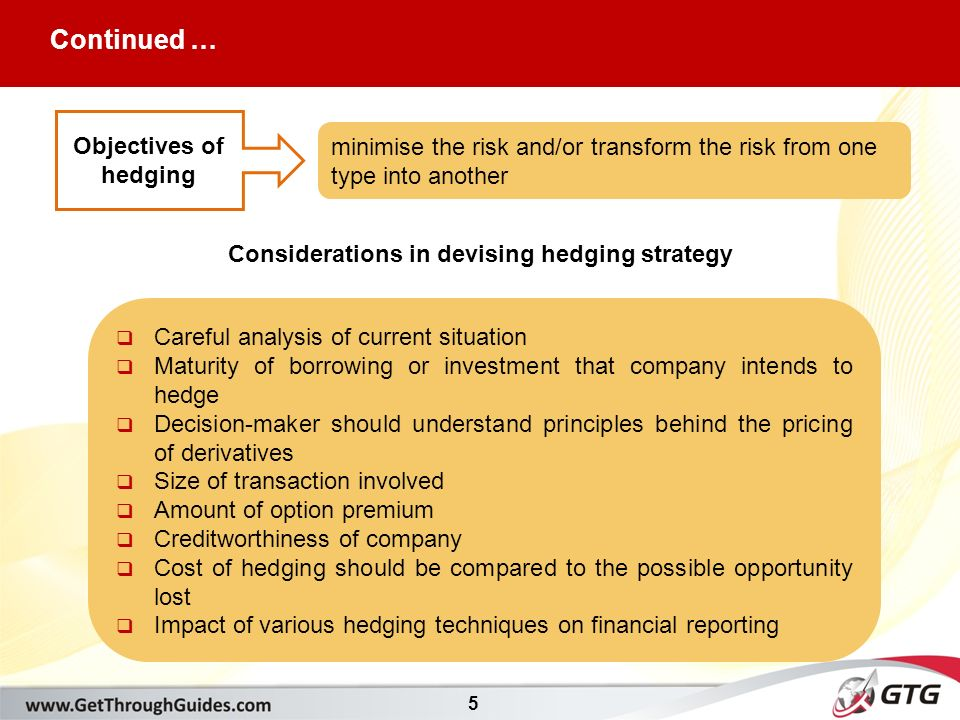 5 Objectives of hedging minimise the risk and/or transform the risk from one type into another Considerations in devising hedging strategy  Careful analysis of current situation  Maturity of borrowing or investment that company intends to hedge  Decision-maker should understand principles behind the pricing of derivatives  Size of transaction involved  Amount of option premium  Creditworthiness of company  Cost of hedging should be compared to the possible opportunity lost  Impact of various hedging techniques on financial reporting Continued …